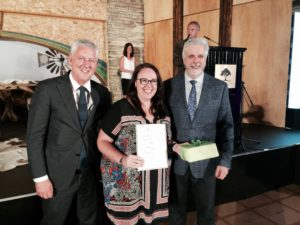 Bundaberg-based ABC Rural Reporter Kallee Buchanan accepts the IFAJ/Rabobank Digital award.